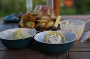 artichoke with tartare sauce